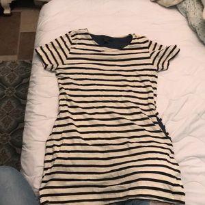 Nautical striped shirt dress with pockets